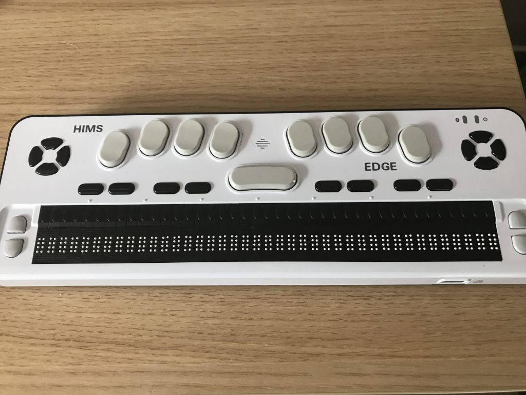 A picture of a braille display