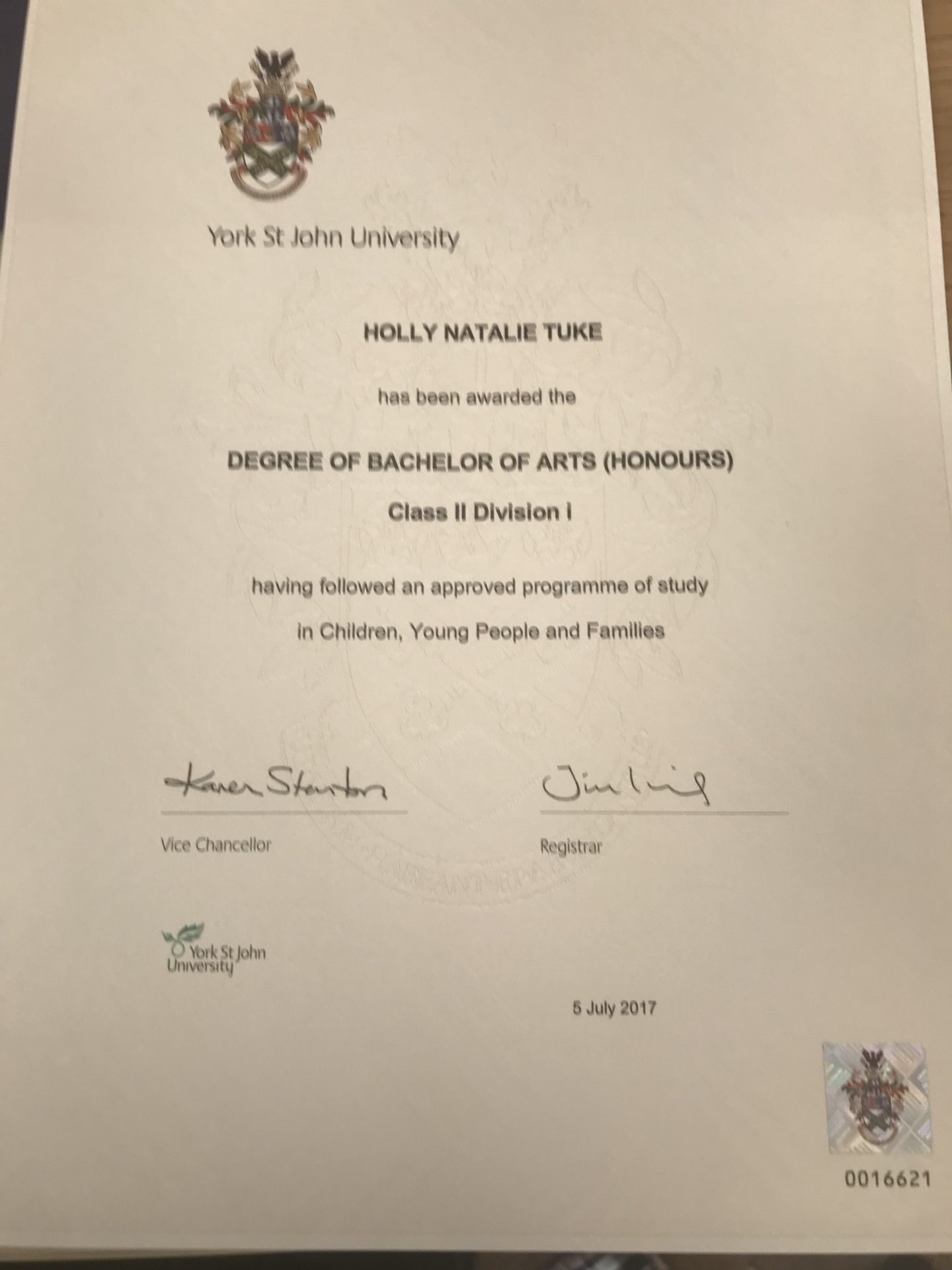 Holly's degree certificate