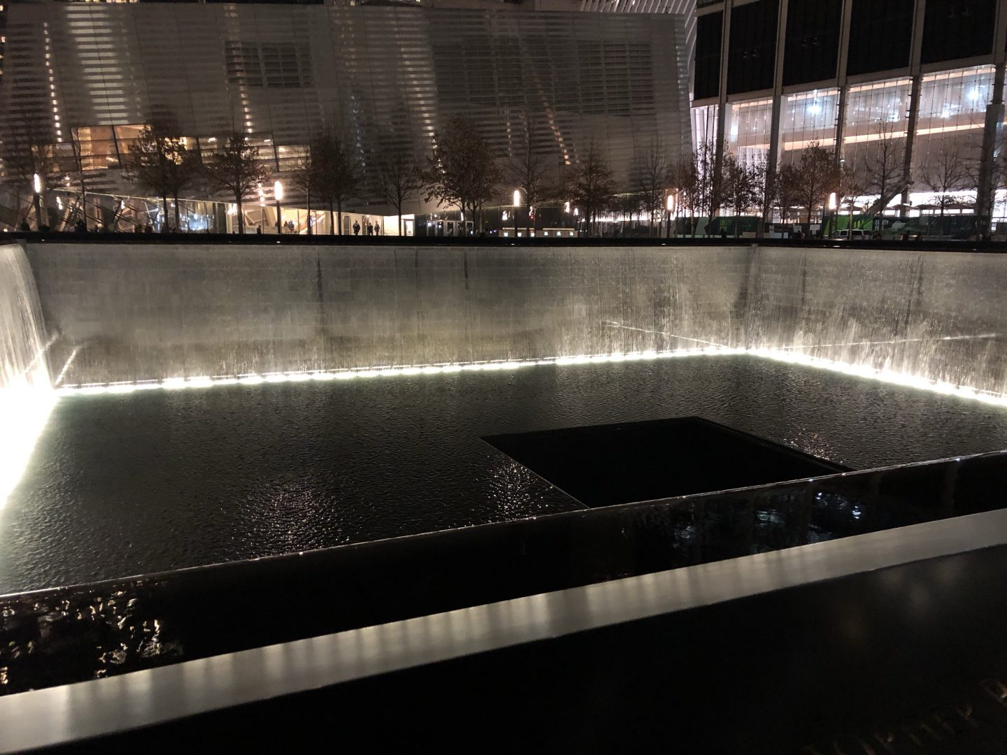A photo of one of the ground 0 memorial pools