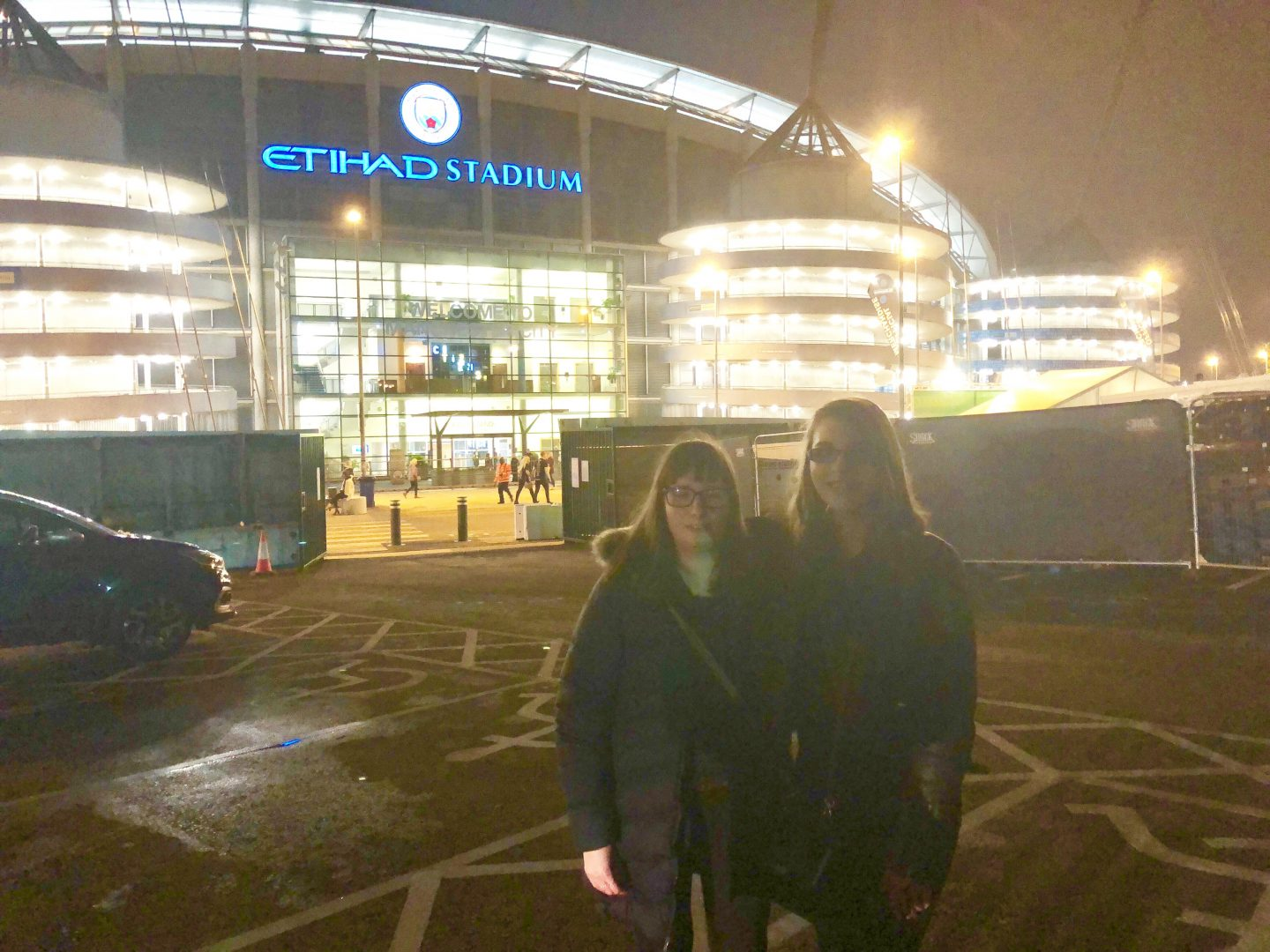 Holly and Elin outside Manchester Etihad Stadium