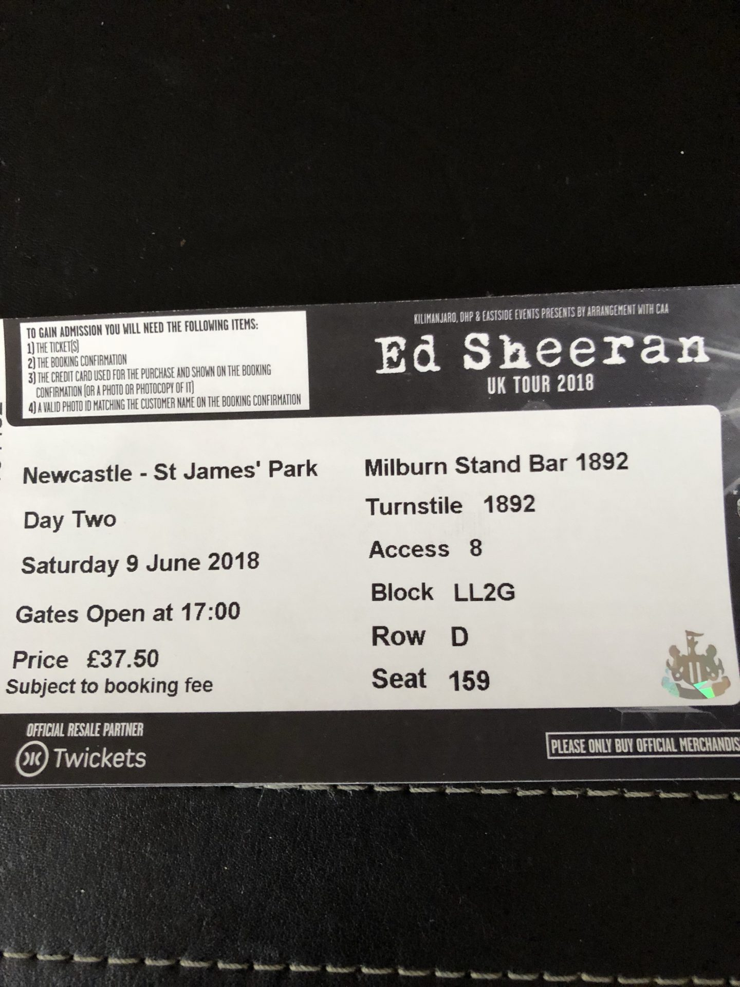 A photo of my Ed Sheeran concert ticket