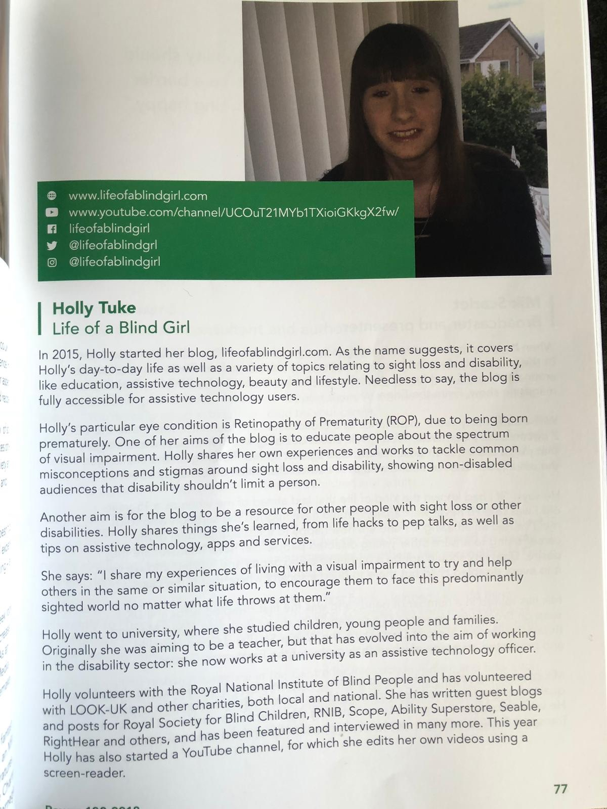 Holly's page in the 2018 Shaw Trust Disability Power 100 list publication