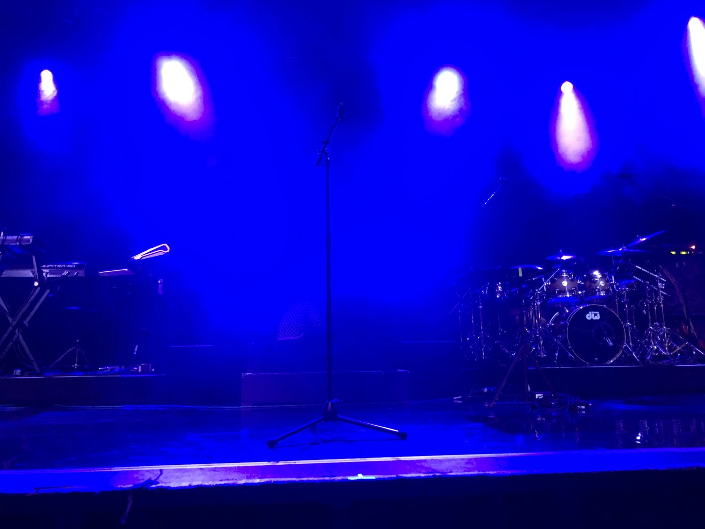 A view of the stage from centre barrier at Manchester Academy